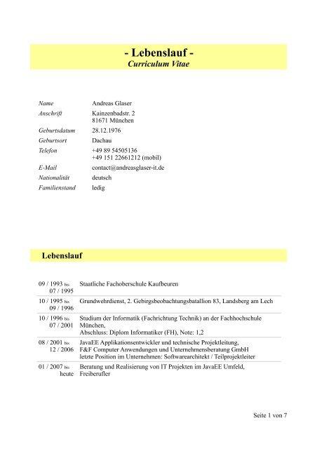 Lebenslauf It Beratung Und Softwareentwicklung Andreas Glaser