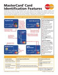 MasterCard® Card Identification Features