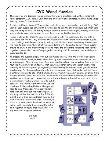 CVC Word Puzzles - Heidi Songs