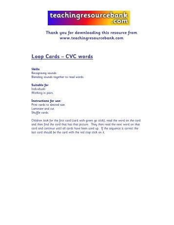 Loop Cards – CVC words - teachingresourcebank.com