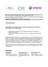 RAG-Stiftung, CVC Capital Partners und Evonik Industries AG ...