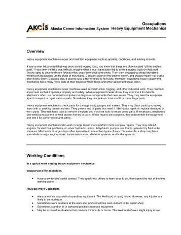 Heavy Duty Equipment Mechanic Class Code 3743 petency