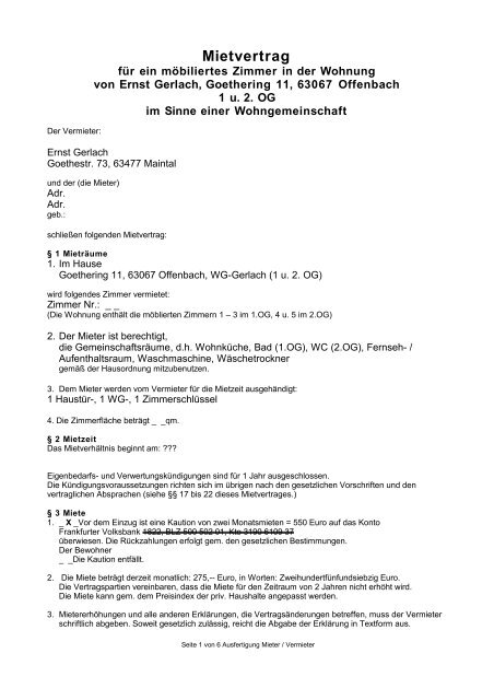 Unser Fairer Mietvertrag Als Pdf Ernst Gerlach