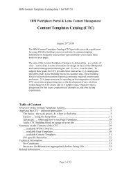 Content Templates Catalog (CTC) - Lotus