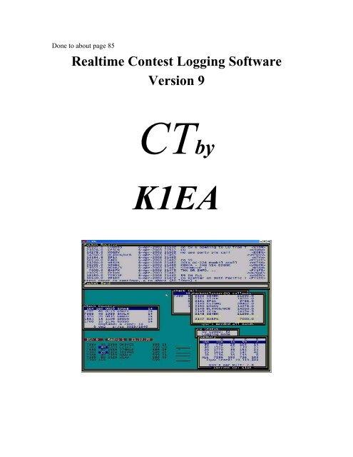 Realtime Contest Logging Software Version 9 - CT by K1EA