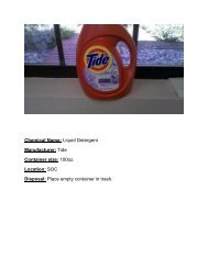 Chemical Name: Liquid Detergent Manufacturer: Tide Container ...