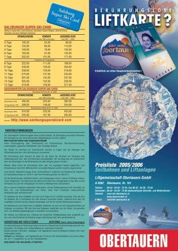Preisliste 2005/2006 Seilbahnen und Liftanlagen - Obertauern