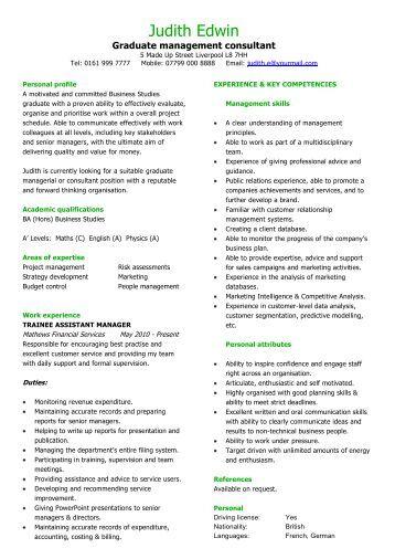 PHP developer CV sample - Dayjob Graduate management consultant CV sample - Dayjob