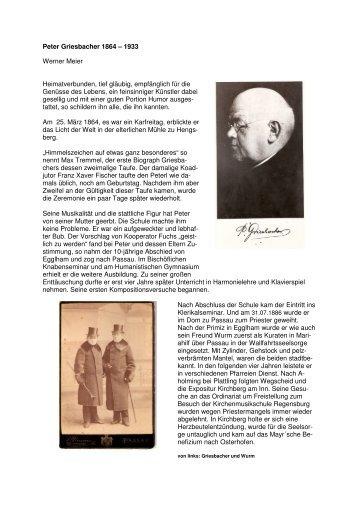 Peter Griesbacher 1864 – 1933 Werner Meier ... - Egglham
