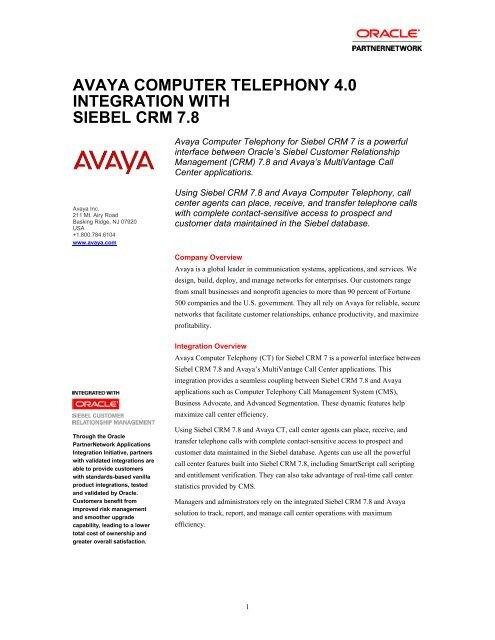 avaya computer telephony 4 0 integration with siebel crm 7 8