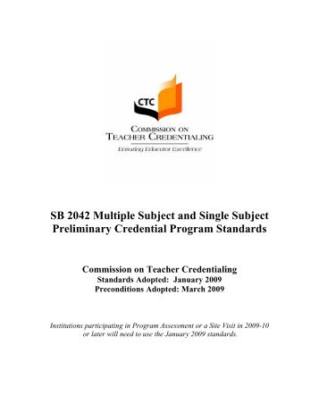 Multiple Subject Teaching Credential Commission On Teacher