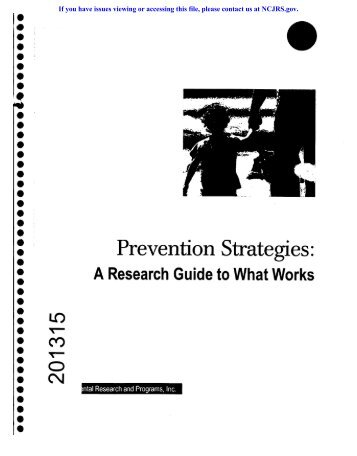 Prevention Strategies-. - National Criminal Justice Reference Service