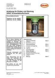 Anleitung für Einbau und Wartung GRAF Drosselablaufschacht