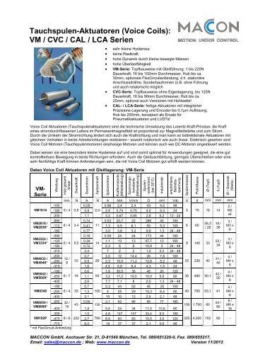 Tauchspulen-Aktuatoren (Voice Coils): VM / CVC / CAL ... - maccon.de
