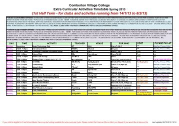 (1st Half Term - for clubs and activites running from 14/1/13 to 8/2/13)