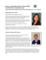 Rotary Leadership Institute, District 5060 North District Leadership ...