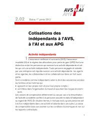 Cotisations des indépendants à l'AVS, à l'AI et ... - Caisses sociales