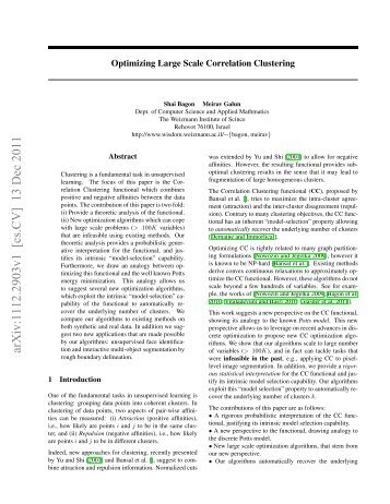 Large Scale Correlation Clustering Optimization - Faculty of ...