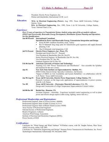 CV Hala N. Ballouz, P.E Page 1 / 8 - Electric Power Engineers