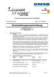 Ausschreibung Competition - Legends of Speed