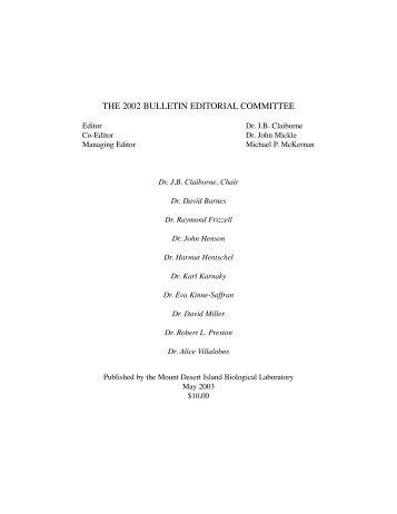 the 2002 bulletin editorial committee - Mount Desert Island ...