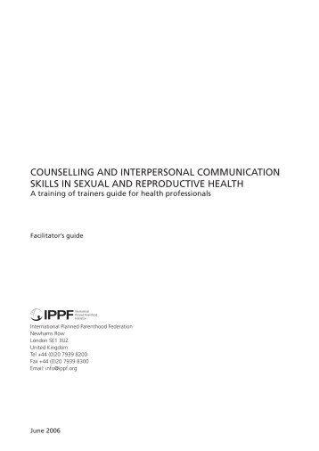 Counselling and interpersonal CommuniCation skills in sexual and ...