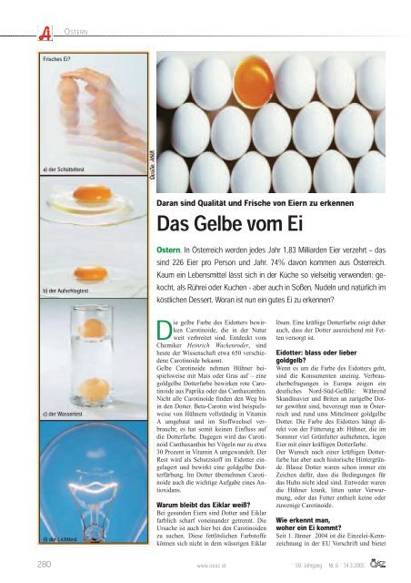 Frische eier erkennen