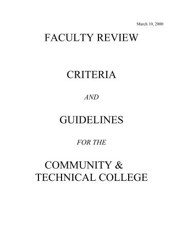 faculty review criteria guidelines community & technical college
