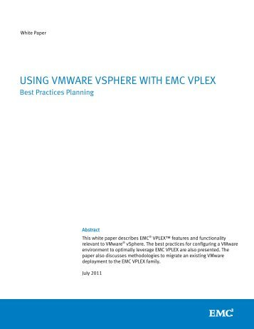 USING VMWARE VSPHERE WITH EMC VPLEX