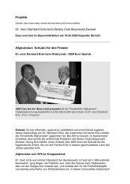 Projekte Dr. med. Reinhard Erös beim Rotary Club Bayerwald Zwiesel