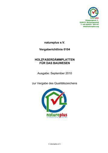 natureplus eV Vergaberichtlinie 0104 HOLZFASERDÄMMPLATTEN ...