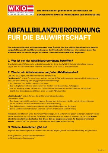 ABFALLBILANZVERORDNUNG FÜR DIE BAUWIRTSCHAFT