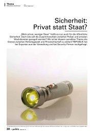 Sicherheit: Privat statt Staat? - SecureLINE