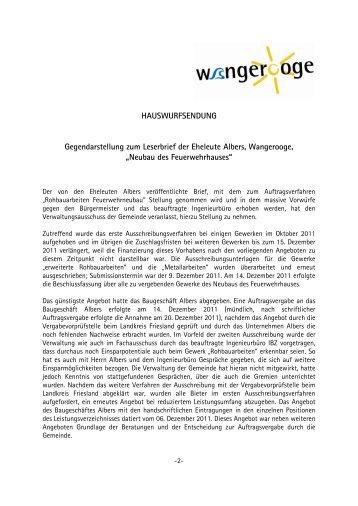 Gegendarstellung des Verwaltungsausschusses zum ... - Wangerooge