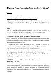 Warum Gemeindegründung in Deutschland? - Konferenz für ...