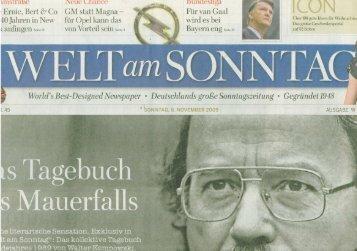 Welt am Sonntag (08.11.2009) Köln feiert Gala - The New Yorker Hotel