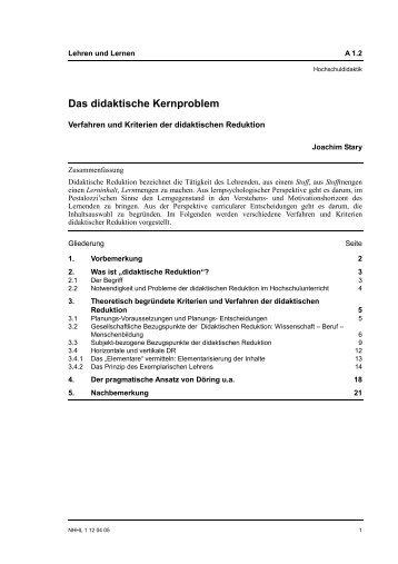 Das didaktische Kernproblem. - Blogs Freie Universität Berlin