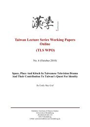 Taiwan Lecture Series Working Papers Online (TLS WPO)
