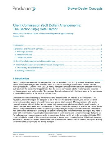 (Soft Dollar) Arrangements - Proskauer Rose LLP