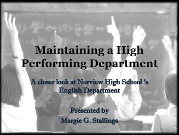Maintaining a High Performing Department