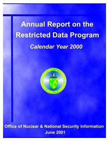 Annual Report on the Restricted Data Program: Calendar ... - OSTI