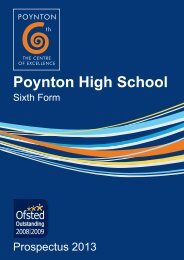 Sixth Form Prospectus - September 2013 entry - Poynton High School
