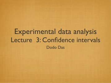 Lecture 3: Confidence intervals