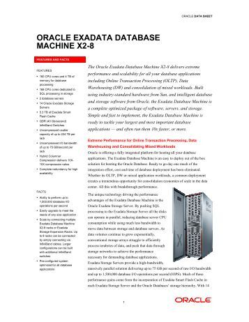 Oracle Exadata Database Machine X2-8 Data Sheet