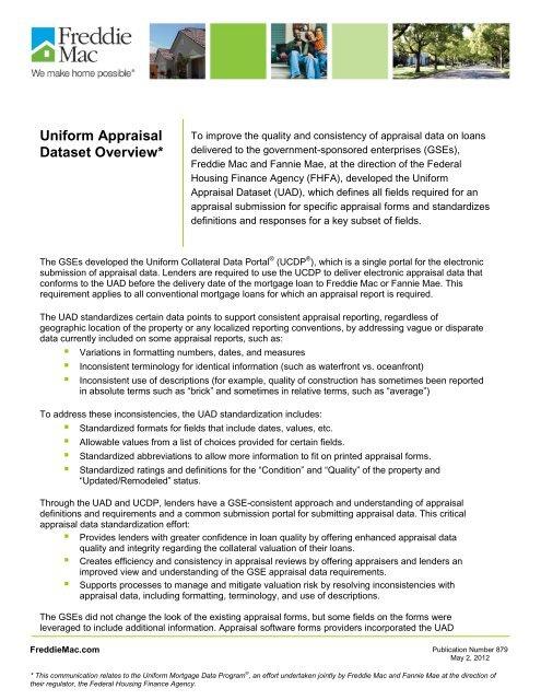Uniform Appraisal Dataset Overview - Freddie Mac