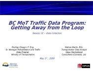 BC MoT Traffic Data Program: Getting Away from the Loop