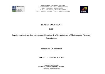 TENDER DOCUMENT FOR Service contract for data entry, record ...