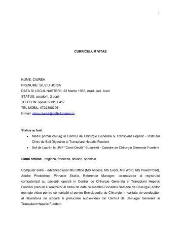 silviu ciurea - Institutul Clinic de Boli Digestive si Transplant Hepatic