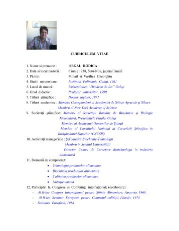 CURRICULUM VITAE 1. Nume si prenume : SEGAL RODICA 2 ...