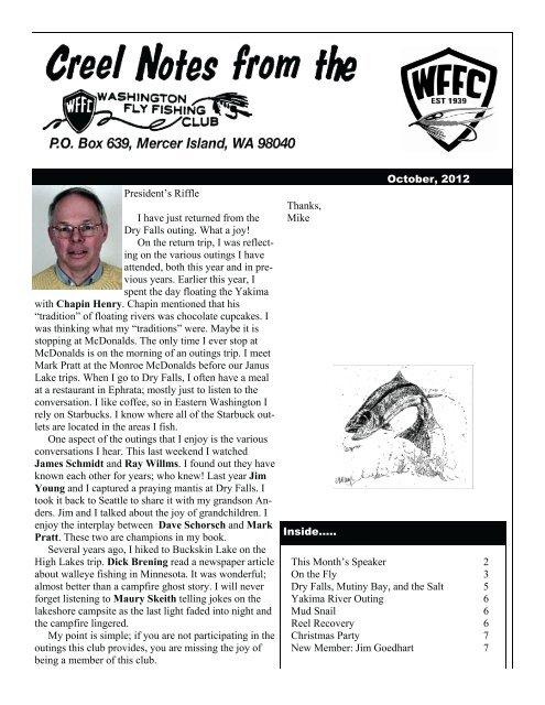 Creel Notes - Washington Fly Fishing Club